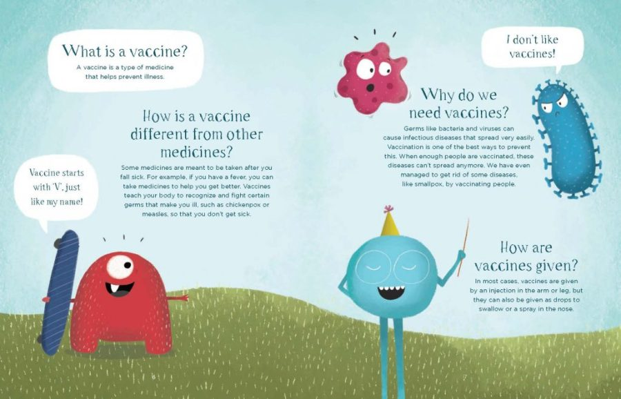 A page from the book 'V for Vaccine'.