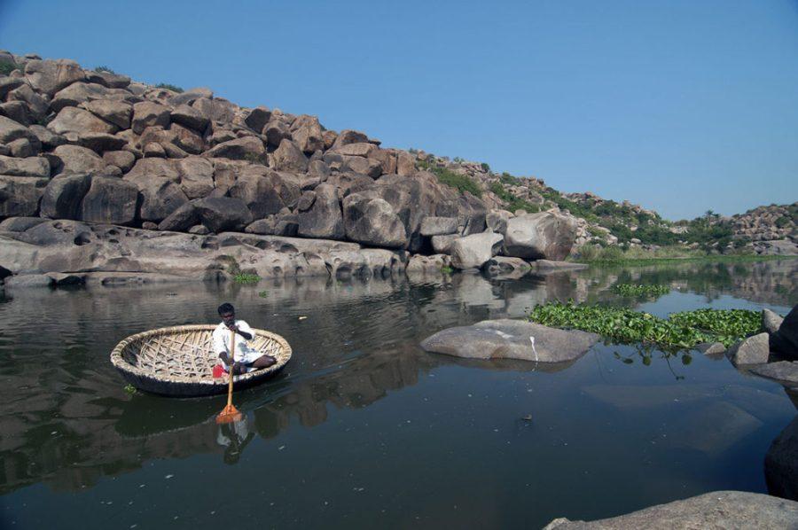 A coracle on River Tungabhadra.