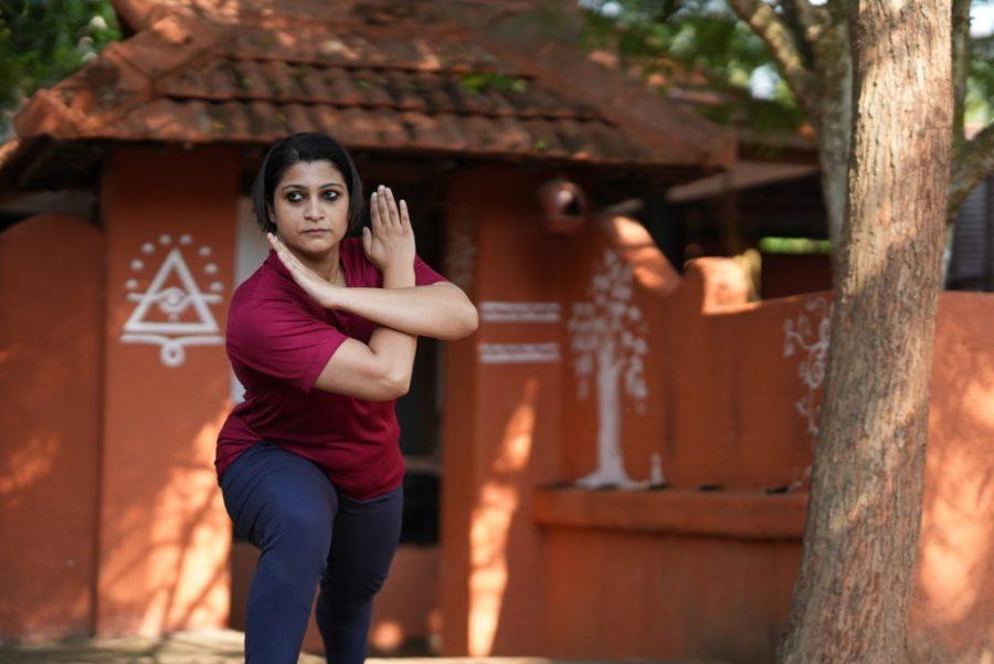Suchitra practicing Kalaripayattu.