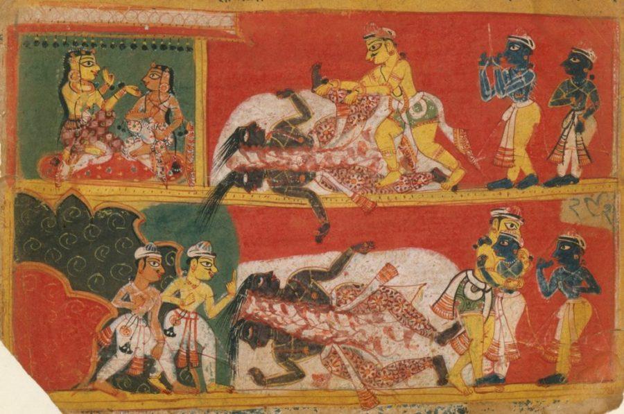 Bhima kills Jarasandha in a wrestling match, a folio from the Bhagavata Purana. c. 1520–1540 (Image from the Met Museum)