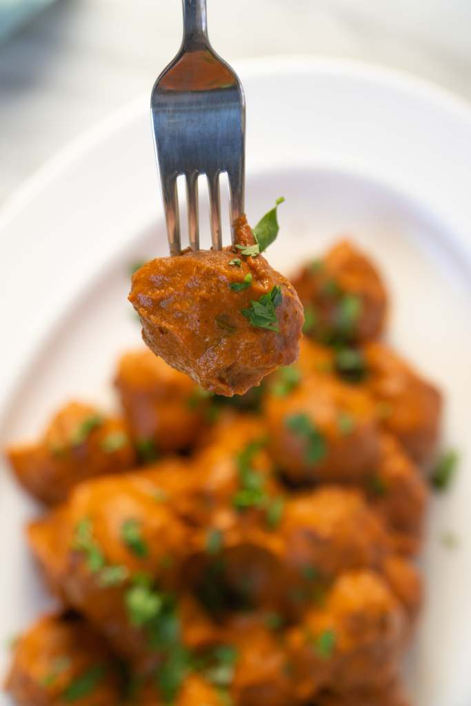 Chicken Tikka Meatball on Fork