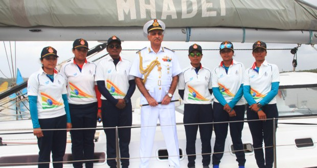 Indian Navy inducted all women crew INSV Tarini on Saturday, February 18, 2017 and set to voyage around the world from August 2017. (Photo: Indian Navy)