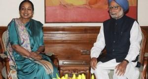The Speaker, Lok Sabha, Smt. Meira Kumar meeting the Prime Minister, Dr. Manmohan Singh, in New Delhi on February 22, 2014.(PIB)