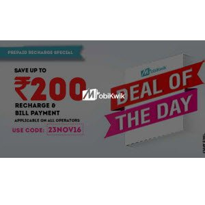 Get Rs. 200 Discount Coupon On Rs. 100 Prepaid Recharge - MobiKwik