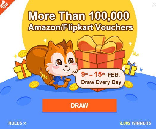 UC Browser Super Day Loot Win 1 Lakh Amazon & Flipkart Voucher Maximum