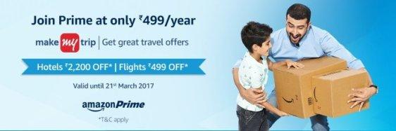 Amazon Prime MakeMyTrip Offer - Join Amazon Prime & Get Rs 2200 MMT Voucher Free & Flight Discount Voucher { No Minimum Booking }