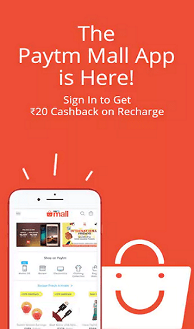PaytmMall App - Get Rs 20 Cashback On Rs 50 Recharge