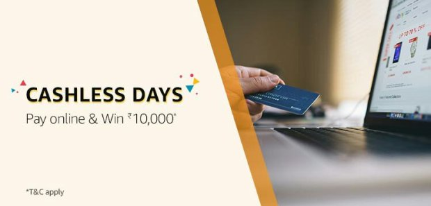 Amazon Cashless Days Contest. Pay online & Win 10000