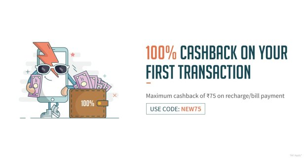 FreeCharge NEW75 Recharges/Bill Payments offer. Get 100% Cashback upto Rs.75 on Recharges/Bill Payments offer