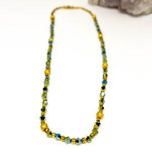 Collar Cristales Verde Golden Orb