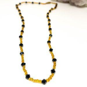 Collar Cristales Negro Gold