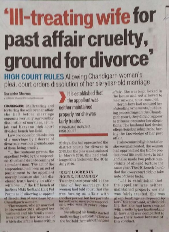 Cruelty in Marriages