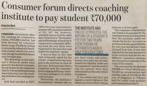 Coaching Institute Deficient in Services