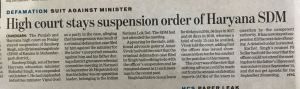 Suspension Order Stayed by High Court
