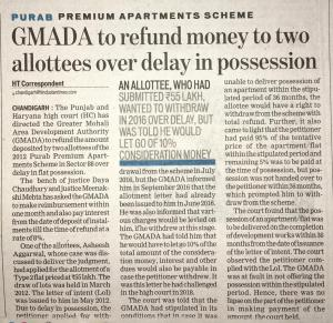 GMADA to refund money to two allottees over delay in Possession.