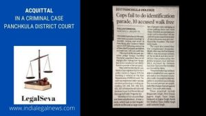 Acquittal in a Criminal Case Panchkula District Court