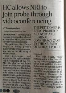 HC allows NRI to join probe via video conferencing