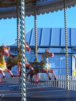 Carousel on Pier. A frozen stampede