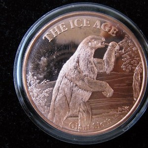 ice age giant sloth copper coin