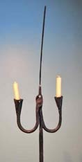 Double Candle Stand with Rush Light Holder 2