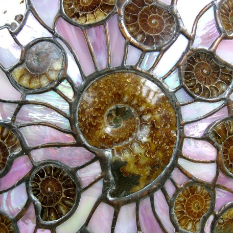Ammonite & Stained Glass Oval Lamp 1b