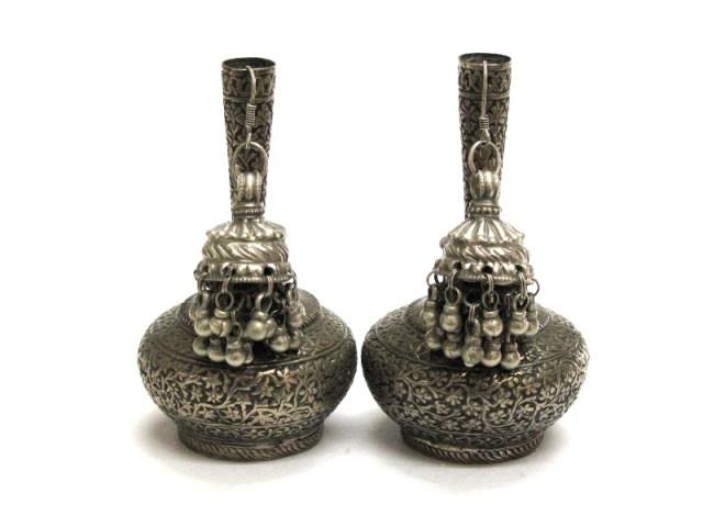Vintage Indian Jhumka Earrings, High Grade Silver, Rajasthan, India, 33.6 Grams.