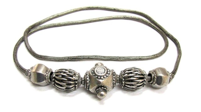 Antique Sri Lanka Necklace, or Belt, High Grade Silver, 79 cm (31″), 85 Grams
