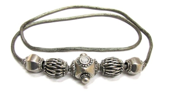 Antique Sri Lanka Silver Beads Necklace or Belt