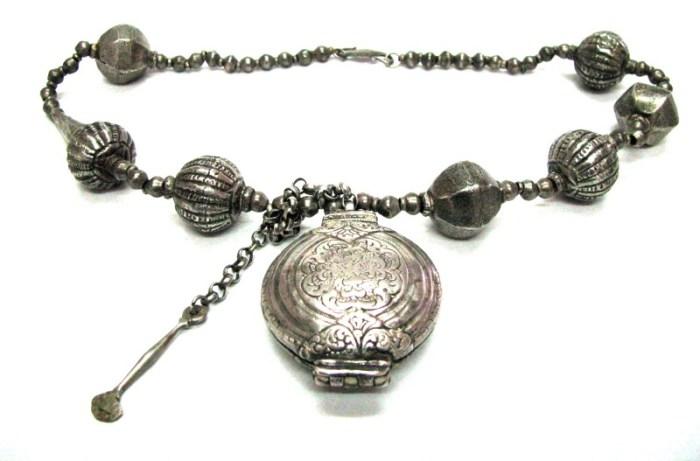 Antique Sri Lanka Necklace, Killotaya, Lime Box, Harar Tribe Ethiopian Large Silver Lac Beads
