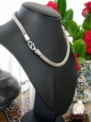 Vintage Indonesian Silver Mesh Chain Necklace