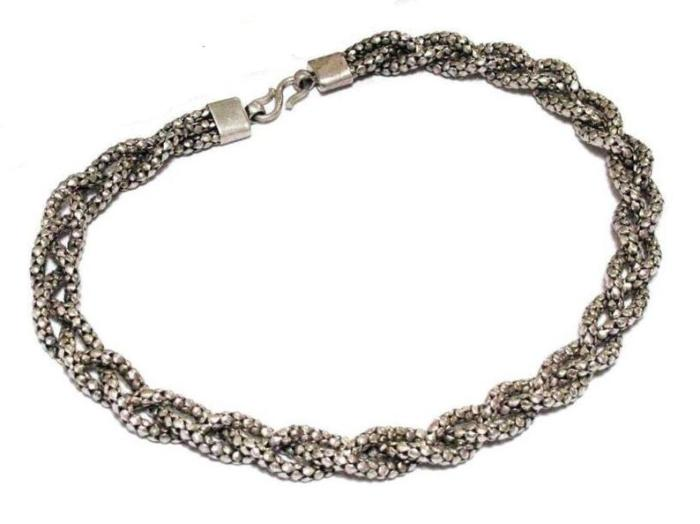 Vintage Indonesian Diamond Wheat Link Woven Chain Necklace, 13mm, Solid, High Grade Silver, 92 Grams