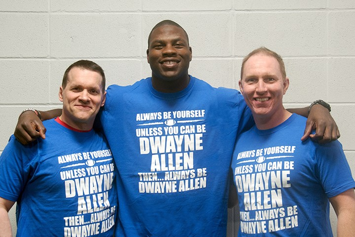Bill Hartman, from left, Colts tight end Dwayne Allen and Mike Robertson