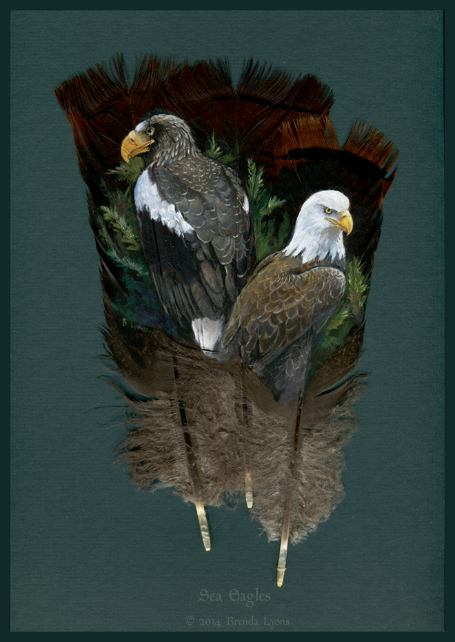 Sea Eagles, a feather painting by Brenda Lyons.