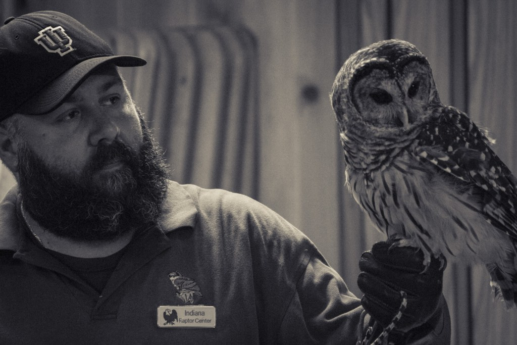 Photo of Indiana Raptor Center board member Domonic Potorti and Elmo the Barred Owl educate the campers at Happy Hollow in Brown County, IN.