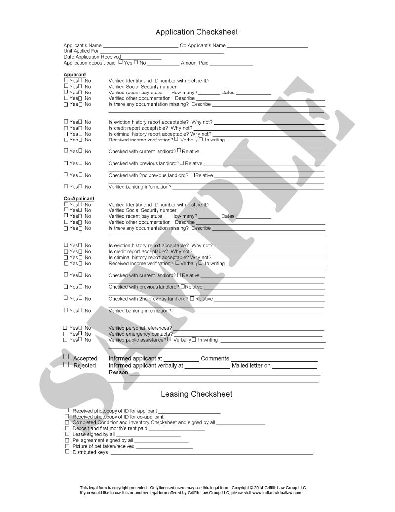 Rental Application Checklist