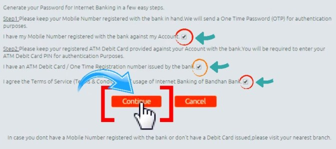 bandhan bank net banking new user