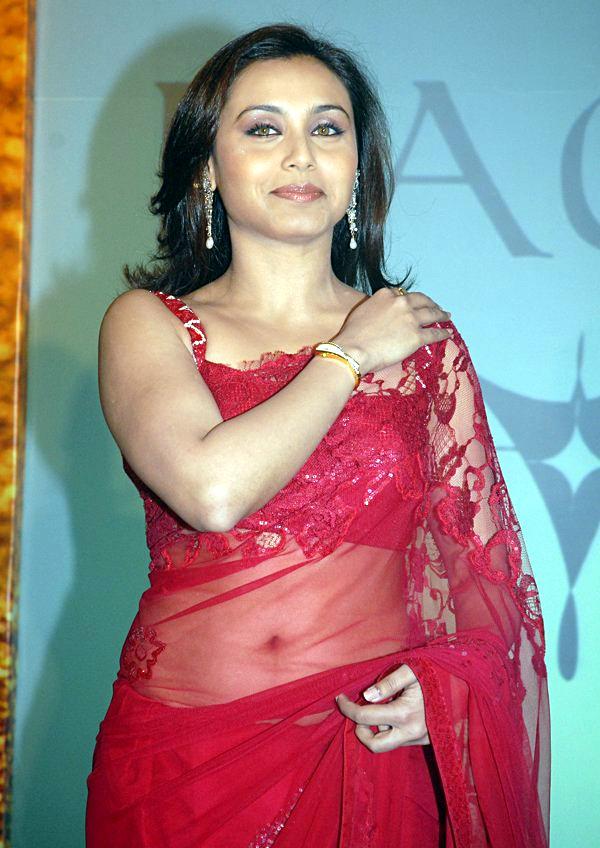 Rani Mukerji Hot Event Photos In Red Transparent Saree -2491