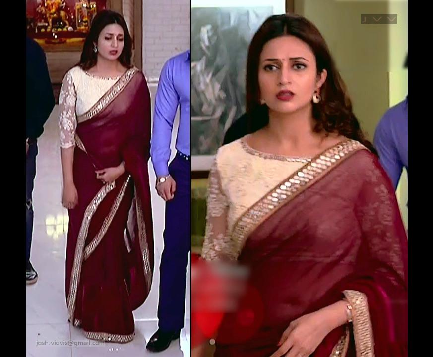 Divyanka Tripathi navel show in transparent sari tv caps