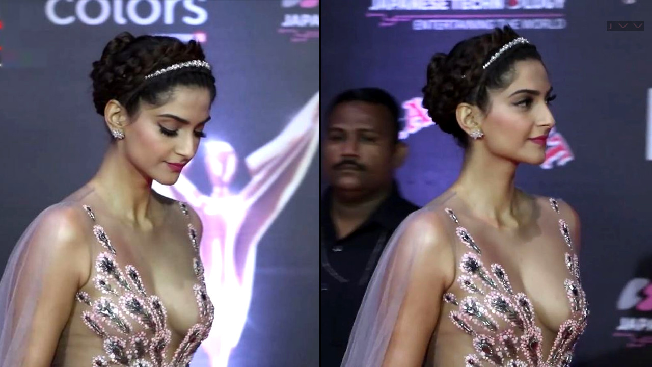 Sonam Kapoor Sexy Cleavage Show In A V Neck Transparent Gown  Indian Celeb Blog-1535