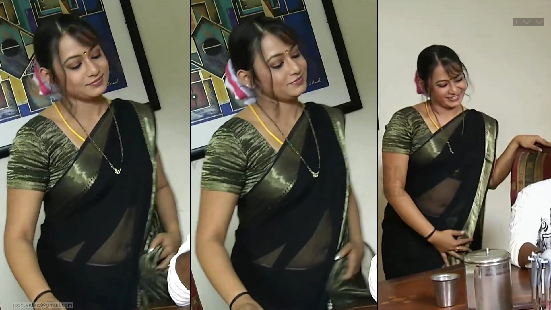 Sreeja serial actress hot sari navel caps from bommalattam