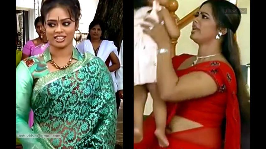 Tamil TV actress Devipriya navel show in Saree hot caps