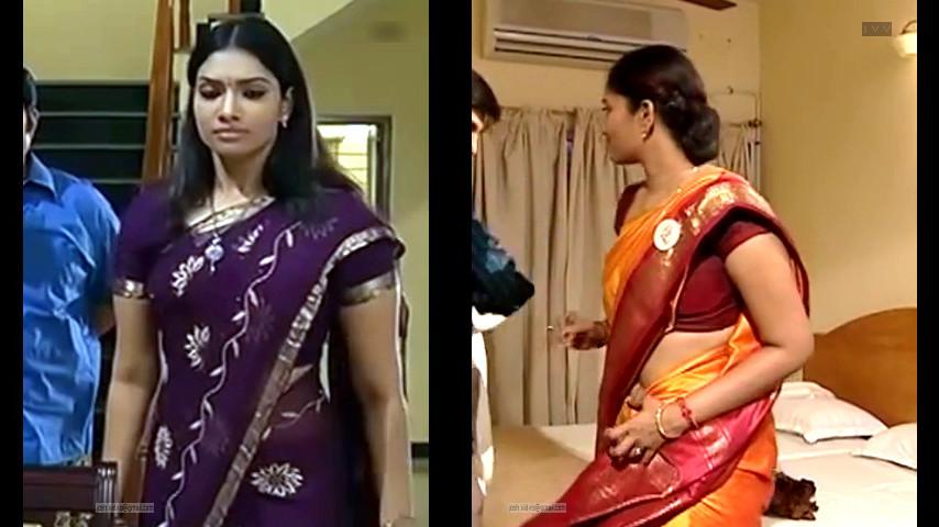 Tamil TV serial actress Krithika hot saree Caps
