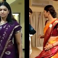 Tamil TV serial actress Krithika hot saree Caps
