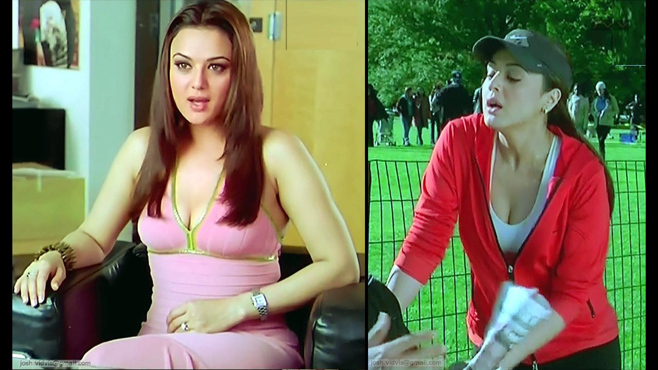 Preity Zinta Bollywood movie Sexy Cleavage caps
