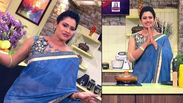 Telugu Anchor Cook show_06_Saree navel