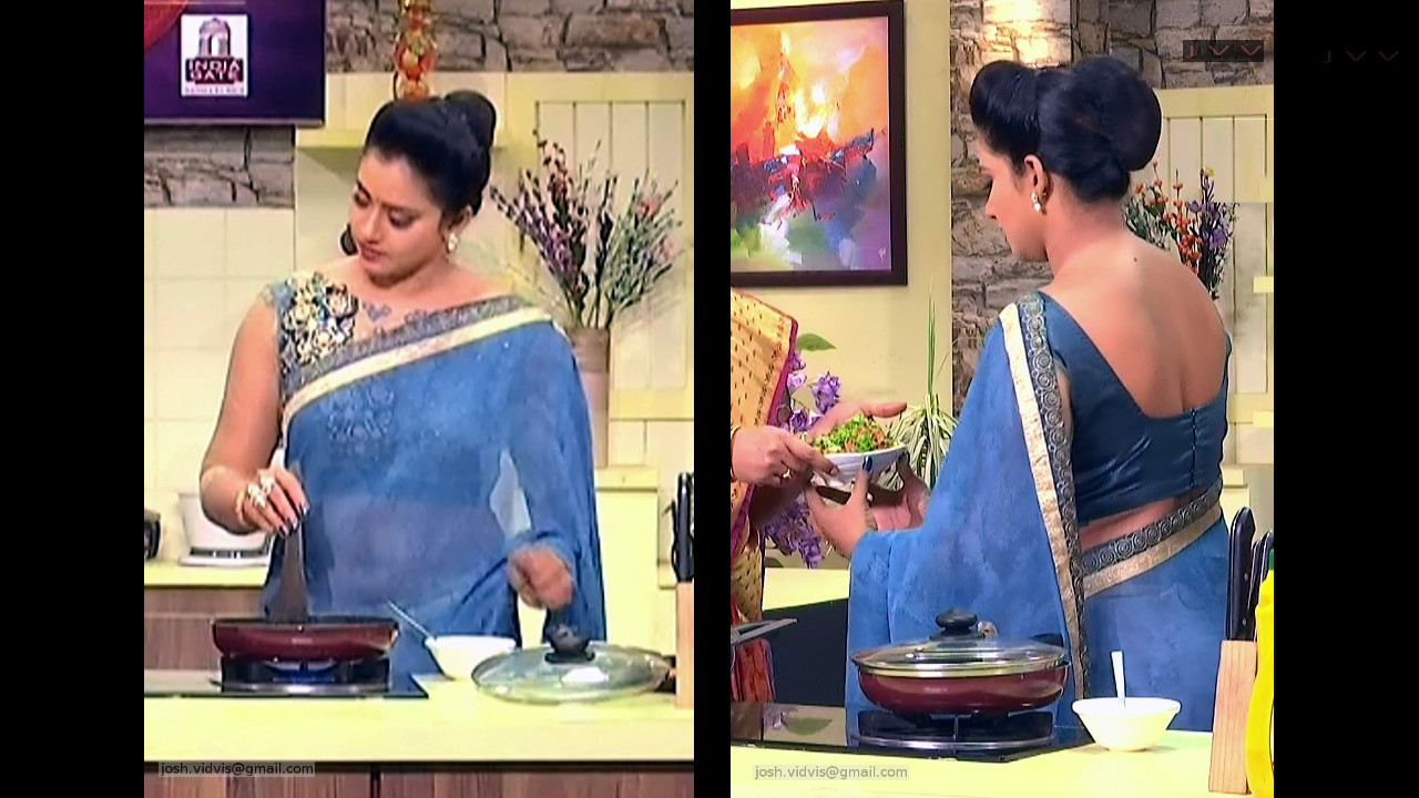 Bhavana navel show in transparent saree telugu reality show caps