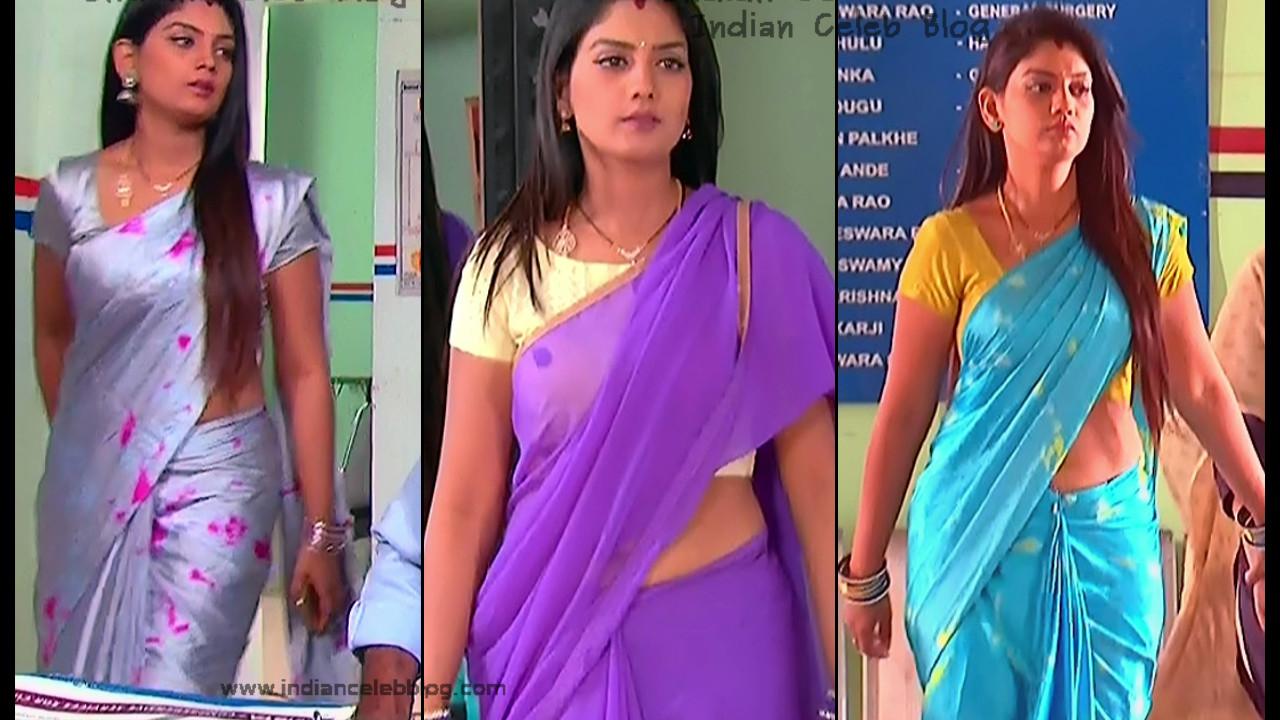 Karuna Telugu serial actress navel slip in sari, hd caps