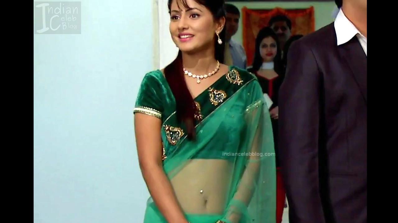 Hina Khan Hindi Tv Serial Actress Hot Transparent Saree -9978