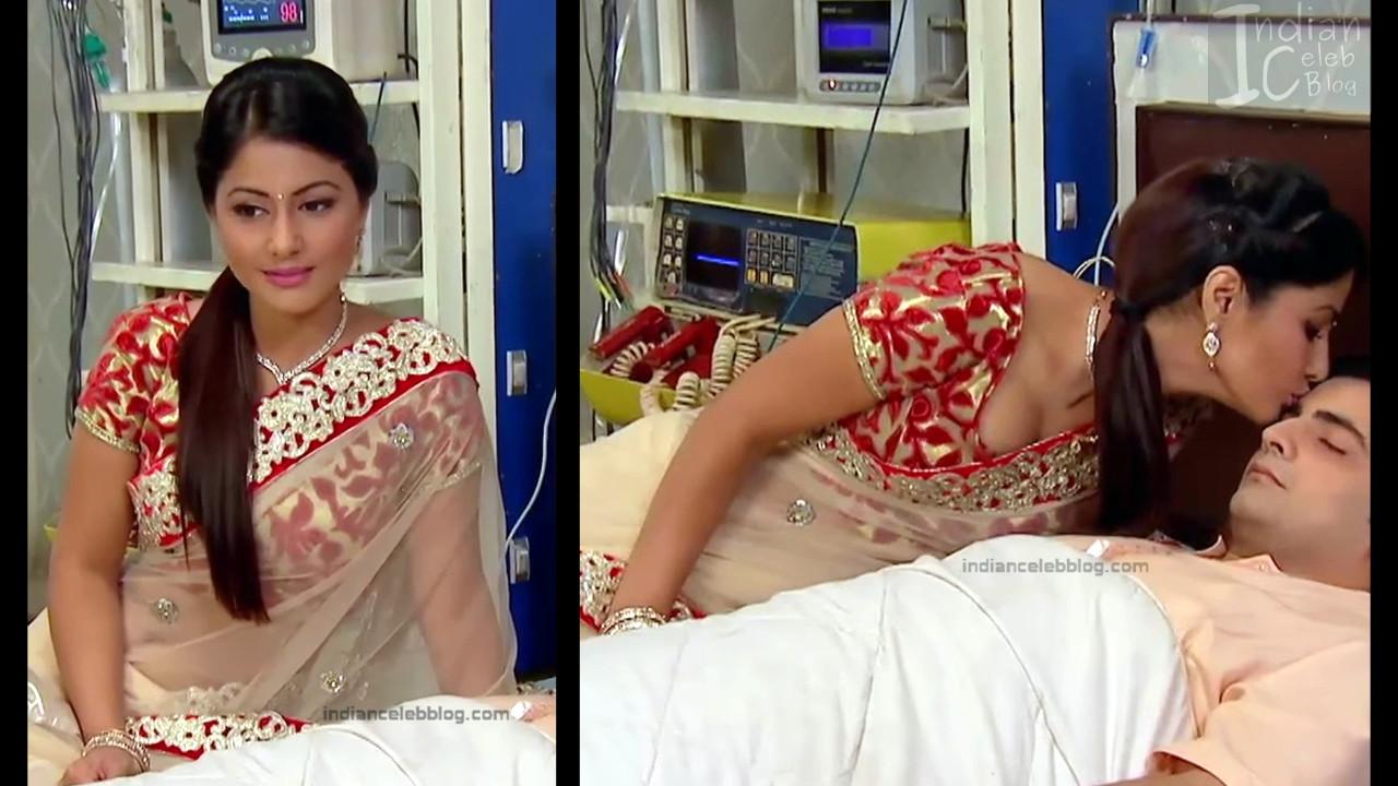 Hina Khan Hindi TV serial actress hot Transparent Saree