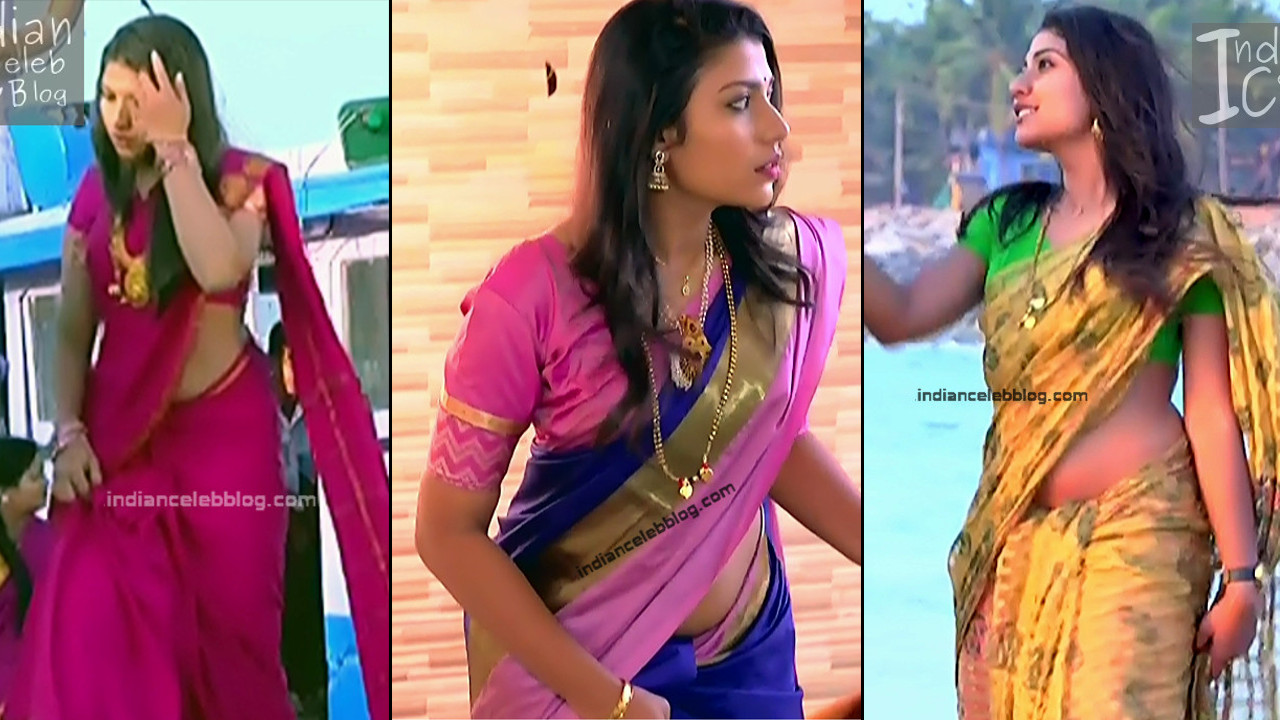 Chandana raghavendra bare midriff show in low waist saree
